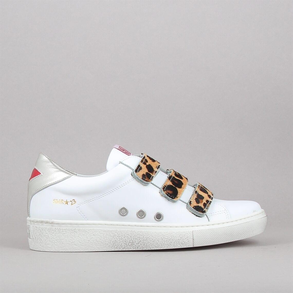 Baskets mode femme blanches et scratchs motifs léopard marque Semerdjian