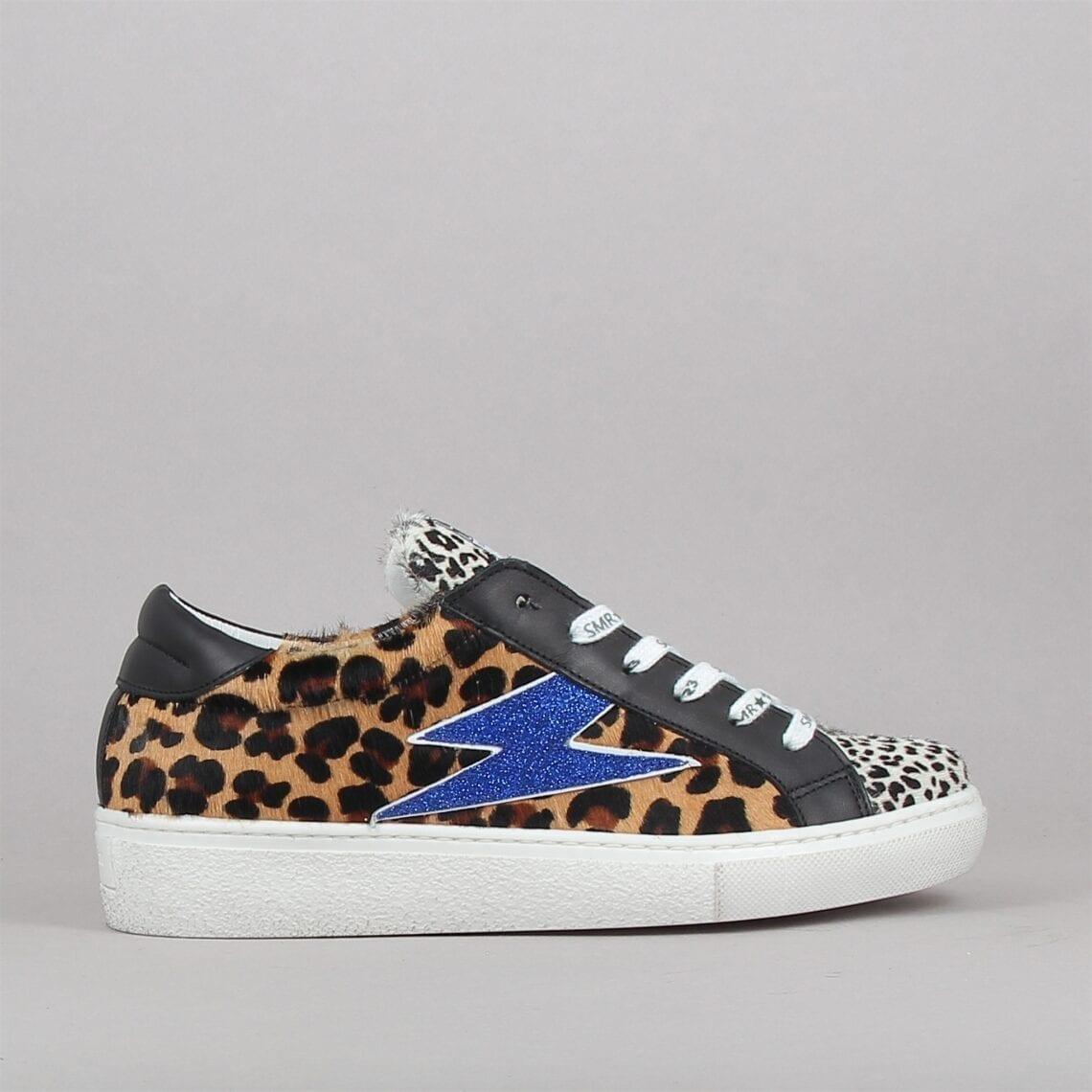 Baskets mode femme léopard éclair bleu électrique paillettes marque Semerdjian